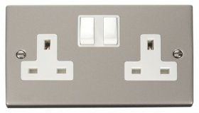 Click Deco Pearl Nickel 13A Double Switched Socket VPPN036WH