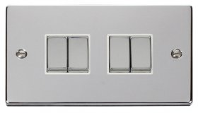 Click Deco Polished Chrome 4 Gang 2 Way Switch VPCH414WH