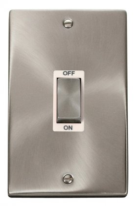 Click Deco Satin Chrome 2 Gang 45A Vertical DP Switch VPSC502WH