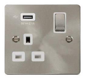 Click Define Brushed Steel USB Single Switched Socket FPBS571UWH