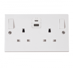 Click Polar Type A & C USB Double Switched Socket PRW786