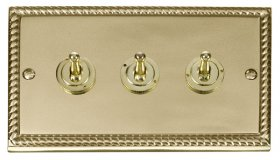 Click Deco Georgian Brass 3 Gang 2 Way Toggle Switch GCBR423