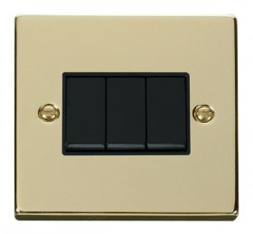 Click Deco Polished Brass 3 Gang 2 Way Switch VPBR013BK