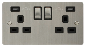 Click Define Stainless Steel Twin USB Switched Socket FPSS580BK