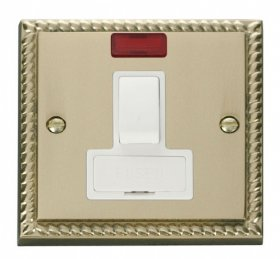 Click Deco Georgian Brass Switched Fused Spur + Neon GCBR652WH