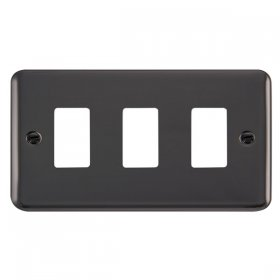 Click Deco Plus B/Nickel 3 Gang Grid Pro Front Plate DPBN20403
