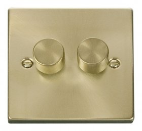 Click Deco Satin Brass 2 Gang 2 Way 400W Dimmer Switch VPSB152