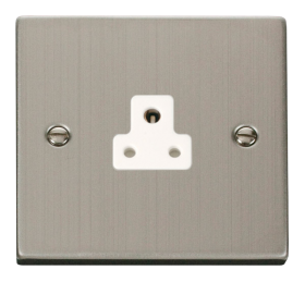 Click Deco Stainless Steel 2A Round Pin Socket VPSS039WH