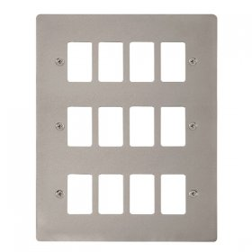 Click Define Pearl Nickel 12 Gang Grid Pro Front Plate FPPN20512
