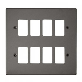 Click Deco Plus B/Nickel 8 Gang Grid Pro Front Plate DPBN20508