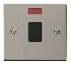 Click Deco Stainless Steel 20A DP Switch + Neon VPSS623BK