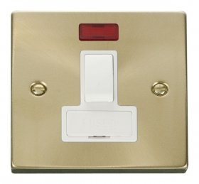 Click Deco Satin Brass Switched Fused Spur with Neon VPSB652WH