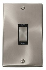 Click Deco Satin Chrome 2 Gang 45A Vertical DP Switch VPSC502BK