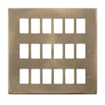 Click Deco Antique Brass 18 Gang Grid Pro Front Plate VPAB20518
