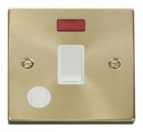 Click Deco Satin Brass 20A DP Switch Neon Flex Outlet VPSB023WH