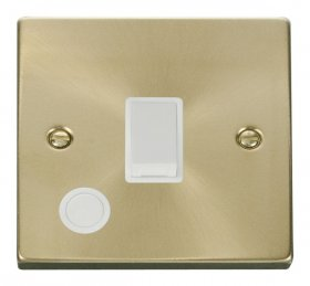 Click Deco Satin Brass 20A DP Switch with Flex Outlet VPSB022WH