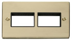 Click Deco Polished Brass Double Plate 6 Gang Aperture VPBR406BK
