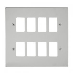 Click Deco Polished Chrome 8 Gang Grid Pro Front Plate VPCH20408