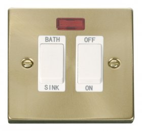 Click Deco Satin Brass 20A DP Sink/Bath Switch VPSB024WH