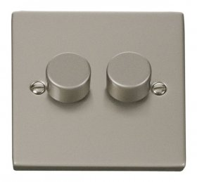 Click Deco Pearl Nickel 2 Gang 2 Way 400W Dimmer Switch VPPN152