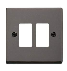 Click Deco Black Nickel 2 Gang Grid Pro Front Plate VPBN20402