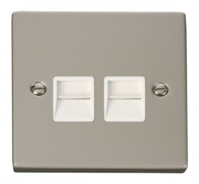 Click Deco Pearl Nickel Twin Master Telephone Socket VPPN121WH
