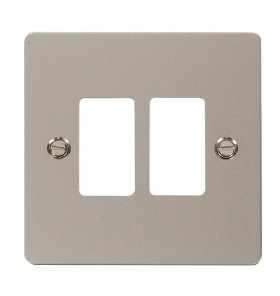Click Define Pearl Nickel 2 Gang Grid Pro Front Plate FPPN20402