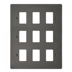 Click Define Black Nickel 9 Gang Grid Pro Front Plate FPBN20509