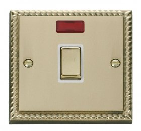 Click Deco Georgian Brass 20A Double Pole Switch Neon GCBR723WH