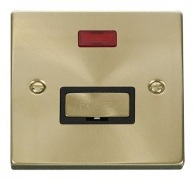 Click Deco Satin Brass Unswitched Fused Spur with Neon VPSB753BK