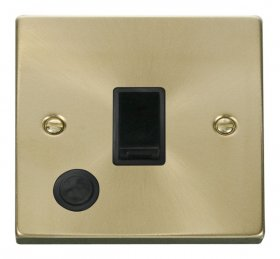 Click Deco Satin Brass 20A DP Switch with Flex Outlet VPSB022BK