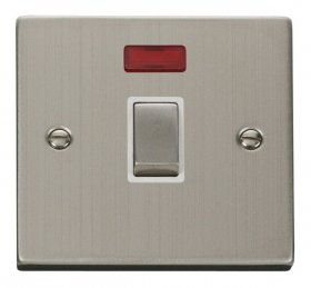 Click Deco Stainless Steel 20A DP Switch with Neon VPSS723WH