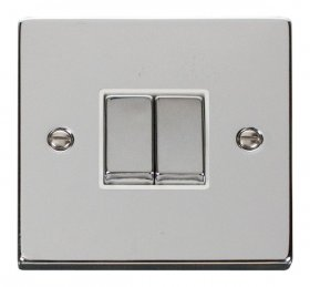 Click Deco Polished Chrome 2 Gang 2 Way Switch VPCH412WH