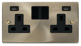 Click Deco Antique Brass Twin USB Double Socket VPAB780BK