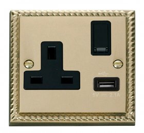 Click Deco Georgian Brass USB Single Switched Socket GCBR771BK