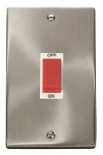 Click Deco Satin Chrome 2 Gang 45A Vertical DP Switch VPSC202WH