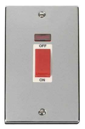 Click Deco Polished Chrome 45A Vertical DP Switch Neon VPCH203WH