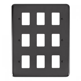 Click Deco Plus B/Nickel 9 Gang Grid Pro Front Plate DPBN20509