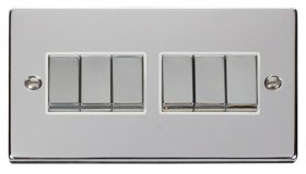 Click Deco Polished Chrome 6 Gang 2 Way Switch VPCH416WH