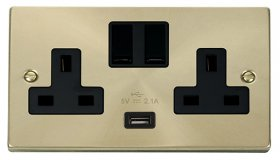 Click Deco Satin Brass USB Double Switched Socket VPSB770BK