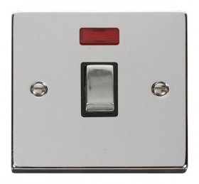 Click Deco Polished Chrome 20A Double Pole Switch Neon VPCH723BK