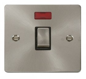 Click Define Brushed Steel 20A Double Pole Switch Neon FPBS723BK