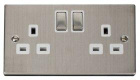 Click Deco Stainless Steel 13A Double Switched Socket VPSS536WH