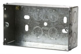 2 Gang 47mm Deep Galvanised Knock Out Box