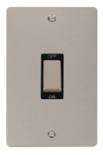 Click Define Pearl Nickel 2 Gang 45A DP Switch FPPN502BK