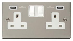 Click Deco Pearl Nickel Twin USB Double Socket VPPN780WH