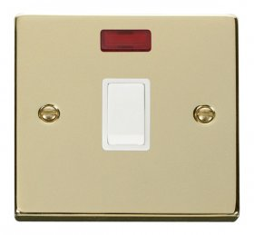 Click Deco Polished Brass 20A Double Pole Switch Neon VPBR623WH