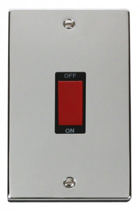 Click Deco Polished Chrome 2G 45A DP Vertical Switch VPCH202BK