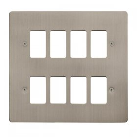 Click Define S/Steel 8 Gang Grid Pro Front Plate FPSS20508