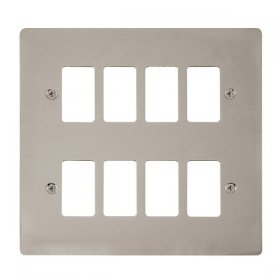 Click Define Pearl Nickel 8 Gang Grid Pro Front Plate FPPN20508